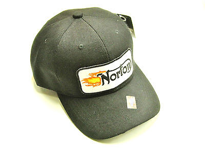 Norton Flame Hat baseball cap vintage british motorcycle patch black ballcap