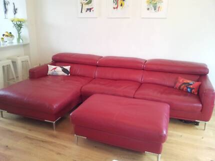 Leather 3 Seat Lounge w Chaise + Ottoman, High Quality, LIKE NEW! Greenwich Lane Cove Area Preview
