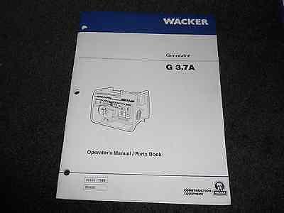 Wacker G 3.7a Portable Generators Operators Parts Manual