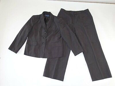 Evan Picone Women's Pant Blazer Suit Size 16 Petite Charcoal Gray Flat Front 16P