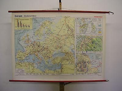 Schulwandkarte Old Wall Map Bodenschätze Map Card Europa Europe 135x99cm 1972