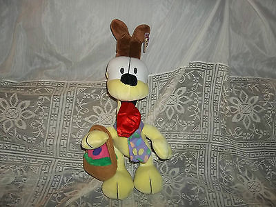 "Garfield ODIE Dog with EASTER Basket& Easter Egg Tie- PLUSH 12""- CUTE!!-Bin D"