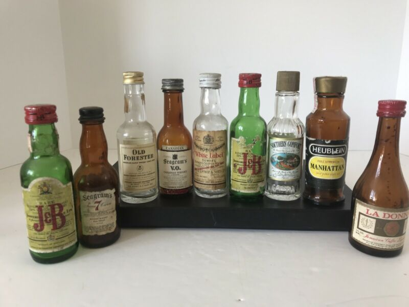 Vintage Lot Of 9 Variety of Empty Glass Old Miniature Liquor Bottles