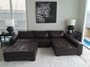Leather Lounge + ottoman 3.1m width Little Bay Eastern Suburbs Preview