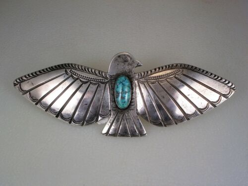 EXTRA LARGE NAVAJO STAMPED STERLING SILVER & TURQUOISE THUNDERBIRD PIN BROOCH