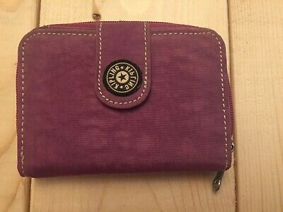 Kipling Magenta Nylon Compact Bifold Wallet W/Coins Compartment Purple