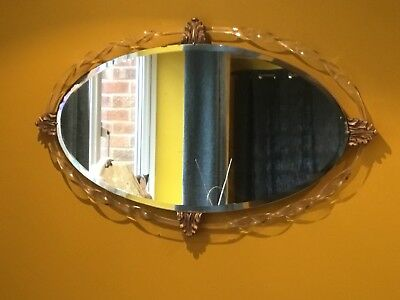 Vintage Hollywood Regency Oval Bevelled Mirror Lucite Twist Gilt Acanthus Detail