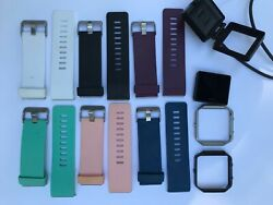 LOT Fitbit Blaze (regular size) plus 1 Charger Dock and 6 Bands (Small) Bundle