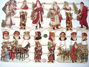 Glanzbilder Oblaten ef 7331 Weihnachten Weihnachtsmann Pferd Schlitten Kinder