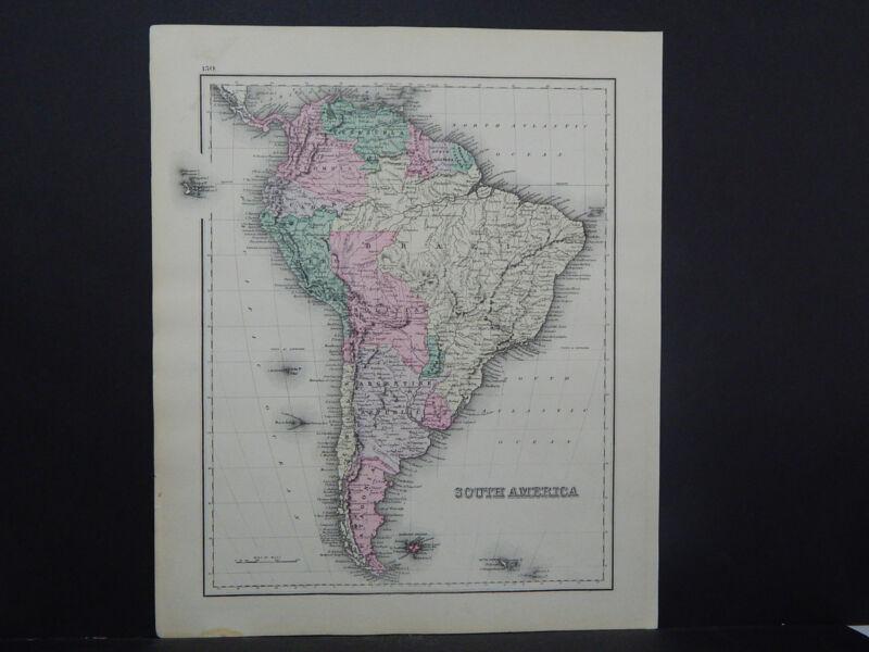 South America Antique Map 1881 O.W. Gray R9#28