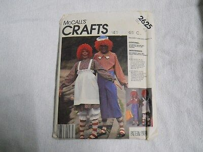 McCalls 2625 Raggedy Ann and Andy Costume Pattern Childs Size 6-8 - Raggedy Ann And Andy Costume