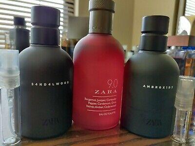 Zara Sample Set 9.0 S4ND4LW00D Ambrox1d3 2ml 3ml 5ml x3 Glass Spray