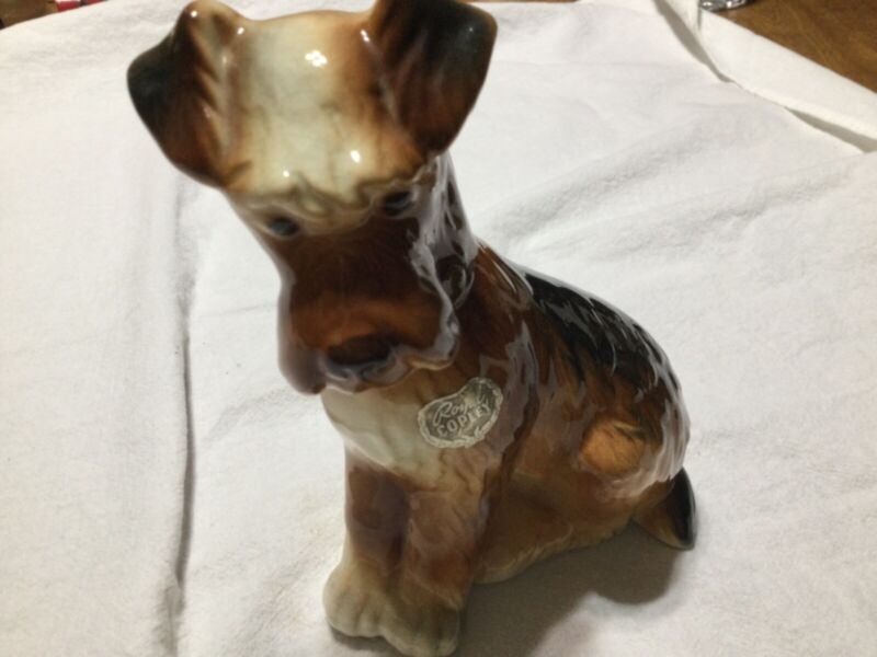 Vintage Royal Copley Airedale Terrier Dog Figurine with Copley sticker