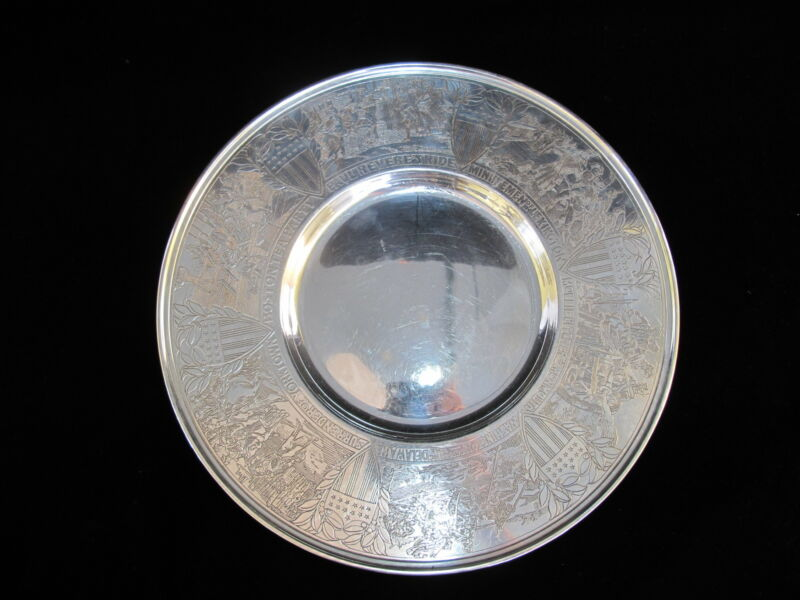 GORHAM Sterling Silver Commemorating Bicentennial Years Collector Plate 1972