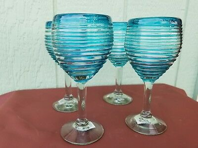 WINE GLASSES  AQUA SPIRAL HAND BLOWN ***PROMOTIONAL DISCOUNT SAVE - Discount Wine Glasses