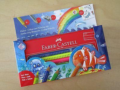 Faber-Castell MALSET 8 Jumbo Grip Buntstifte incl. NEON wasservermalbar Spitzer
