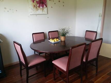 6 Seats Vintage Solid Wood Extendable Table And Chairs Dining Set