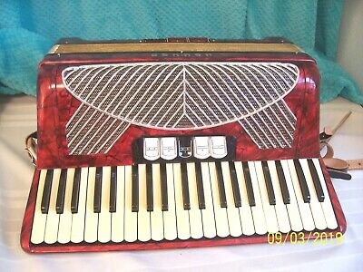 "Red Hohner Polka  3 & 5 Reeds 19"" accordion beautiful accordian  VGC used"