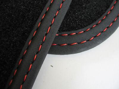 Fußmatten für Mercedes GLA X156 Velours Deluxe schwarz Nubukband Doppelnaht rot