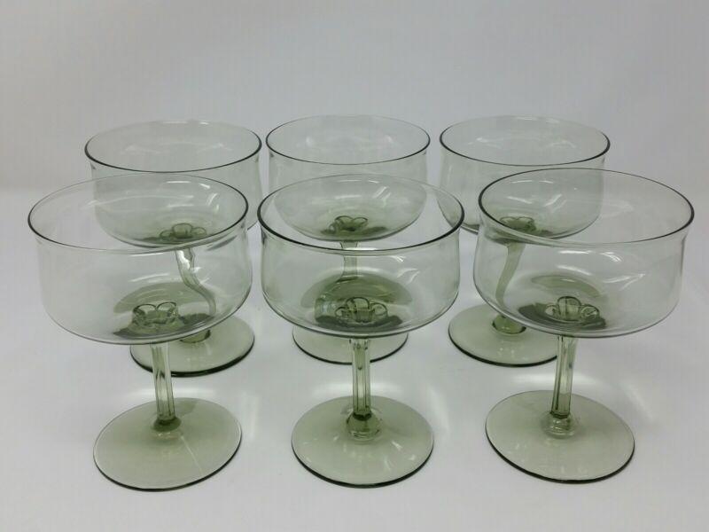 Vintage Lenox USA Green Mist Champagne/ Sherbet Glasses Set of 6
