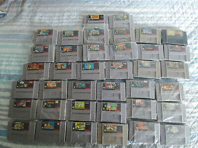 lot of 38 snes super nintendo games lot mario kart donkey kong turtles in time