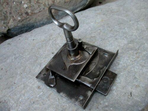 Antique Iron Door Lock & Original Key Locking Blacksmith Made Fully Functional