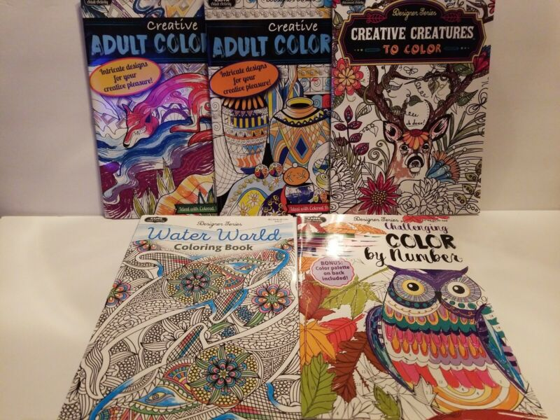 ADULT COLORING BOOKS~SET OF 5~GREAT FOR RELAXING AND DESTRESSING