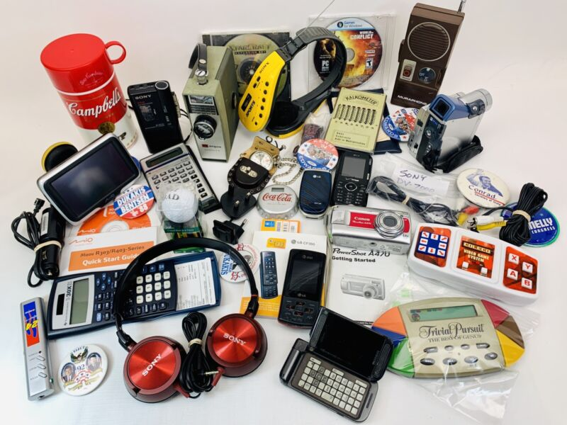 Large JUNK DRAWER LOT Electronics & Collectibles GPS Phones Cameras Etc, 10 Lbs