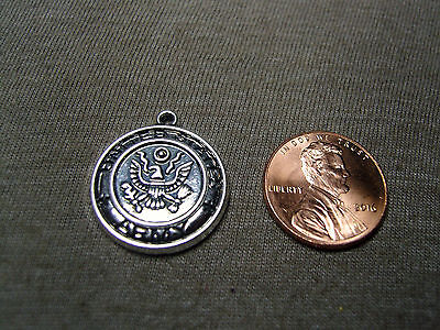 UNITED STATES ARMY Military Medallion antiqued silver charm