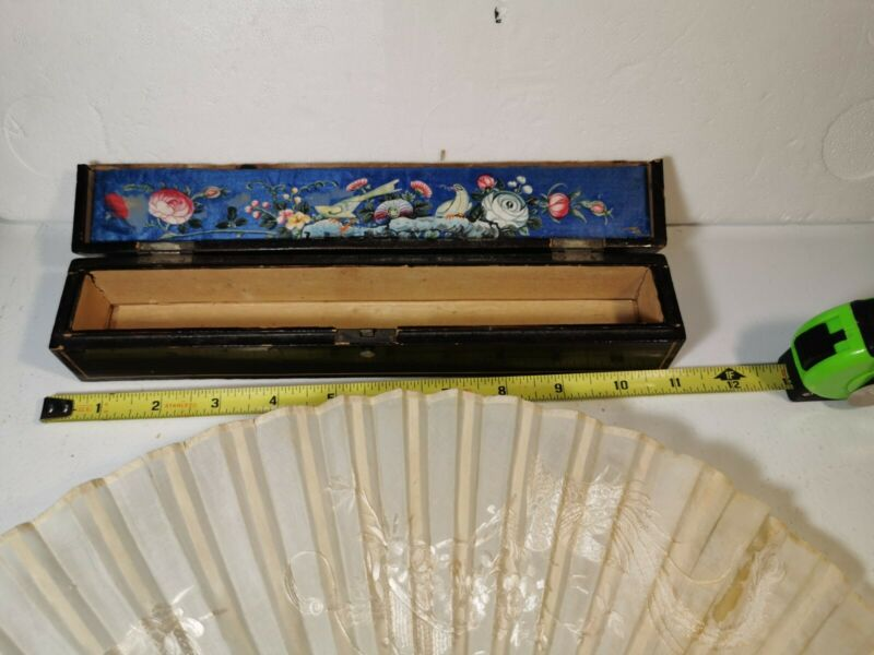 Antique Chinese Carved Silk Fan with Lacquer Box