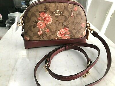 COACH SIGNATURE PRAIRIE DAISY CLUSTER DOME CROSSBODY BAG KHAKI CORAL MULTI 328