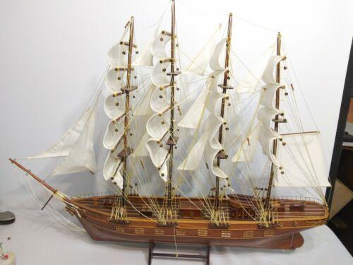 "Rare Vintage Wooden Model 4 Masted Sailing Ship ""Wenour"""