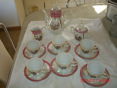 VINTAGE WHITE & PINK COURTING COUPLE 17 PIECE TEA SET MADE IN JAPAN. NO CHIPS