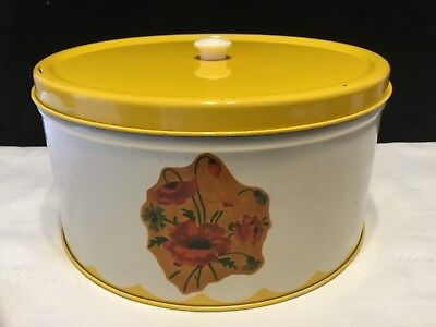Vintage Metal Tin Cake Carrier Pie Saver White & Yellow Kitchen Canister (N66)