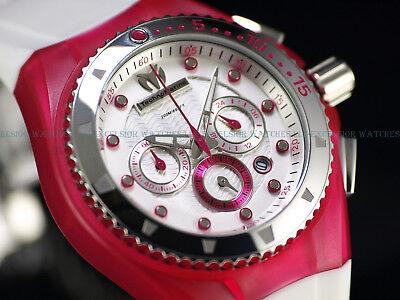 New TechnoMarine 200M Cruise Beach Japan Chronograph Pink White Wave Dial Watch