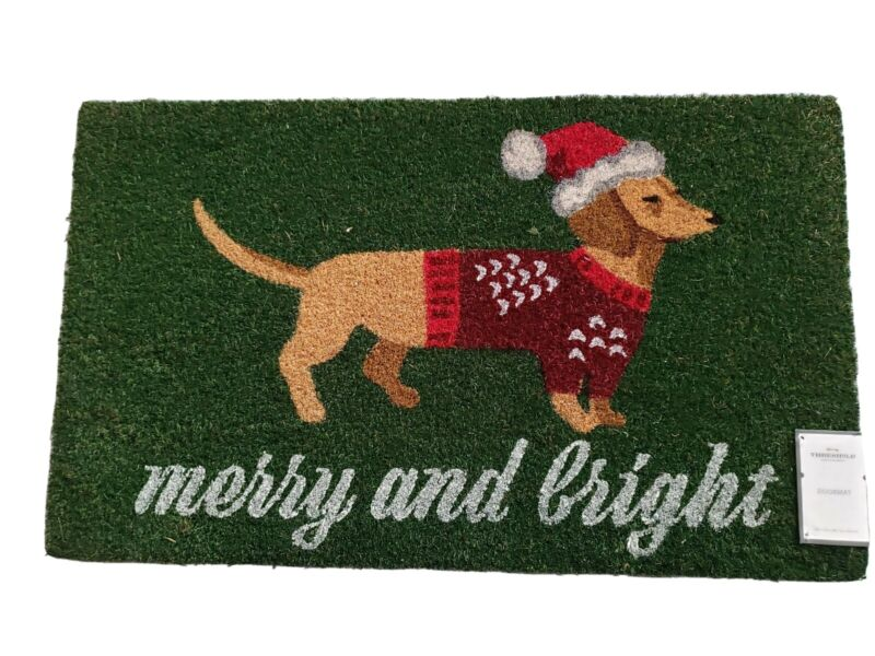 New Christmas Holiday Dachshund Doxie Hot Dog Doormat