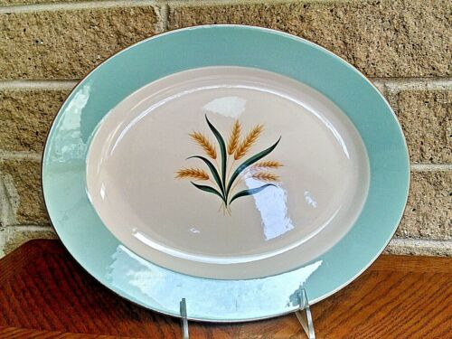 "International D.S. Co VIKING U.S.A. Wheat Aqua 11 7/8"" Oval Ham Serving Platter"