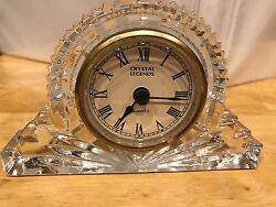 DESK CLOCK, SHELF, MANTEL - CRYSTAL LEGENDS by Godinger Handcrafted 24+% Lead