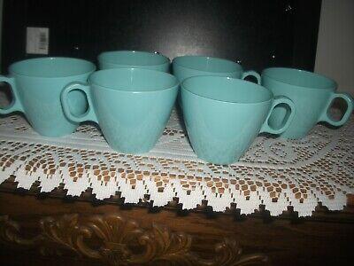 Boonton Ware 6 Pc Coffee Cups/ Mugs Vintage Melamine Melmac 6206 Turquoise