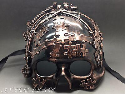 Steampunk Fantasy Aesthetic Half Face puzzle Designs Skull Burning Man Mask - Fantasy Mask
