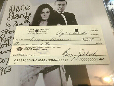 d1998 Barry Goldwater Signed Autograph Personal Check to Nieman Marcus 2.18 auto