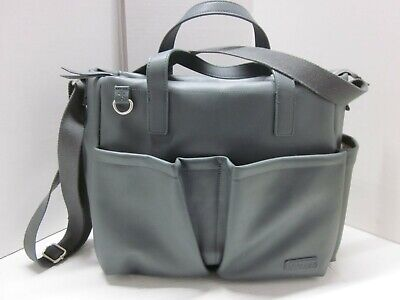 Skip Hop Greenwich Simply Chic Tote Diaper Bag Smoke Gray Luxe Vegan Leather VNC