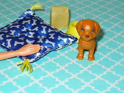 Mattel Barbie Doll Accessory PUPPY DOG and ACCESSORIES LOT Soft Pillow BED Bone