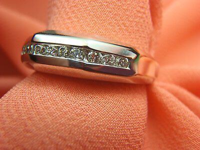 1/4 Ct Tw Diamond Mens Wedding Band Ring 14K White Gold Size 9 1/2 Lot