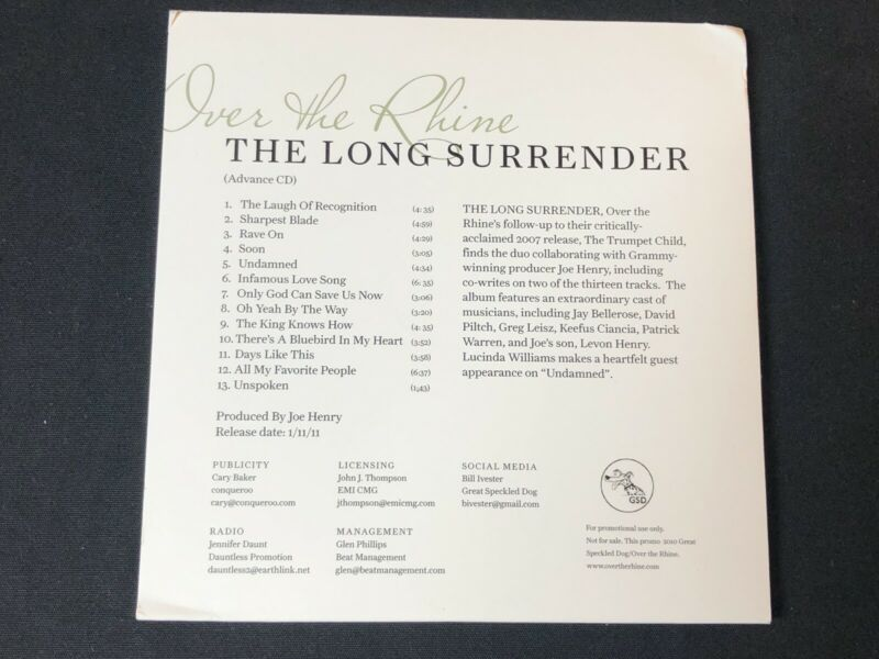 OVER THE RHINE THE LONG SURRENDER 2011 PROMO CD - $20.00