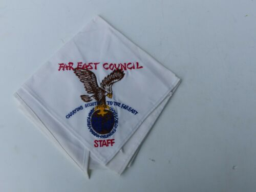 Unused Vintage Far East Council Boy Scout BS STAFF Embroidered White Neckerchief