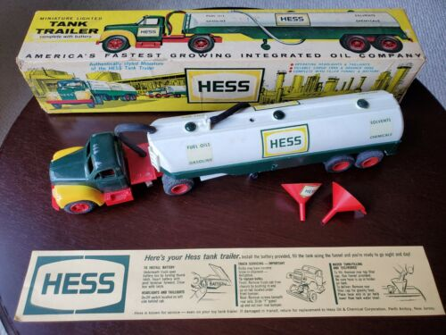 1964 Hess Truck Original Toy Tanker Truck in Original Box with 2 Funnel & Insert