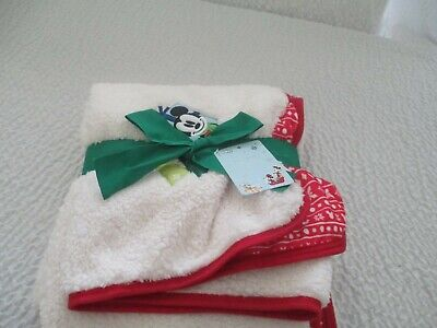 Disney Store Mickey Mouse Christmas Thick Fleece Comfy Throw Blanket Free Ship