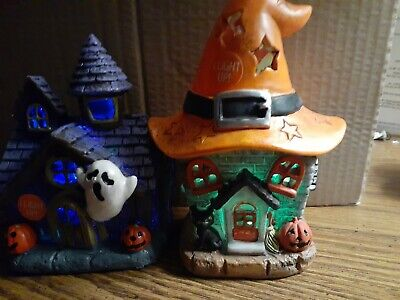 Light Up Color Changing Ghost House and Witch House Halloween Tabletop Decor