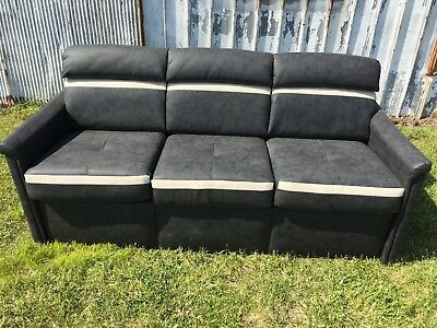 "Flexsteel 75"" Mattress Sleeper Sofa BLACK Couch Bed RV motorhome coach"